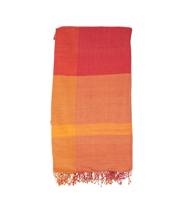 The Little Market Square Madras Tablecloth in Red/Orange