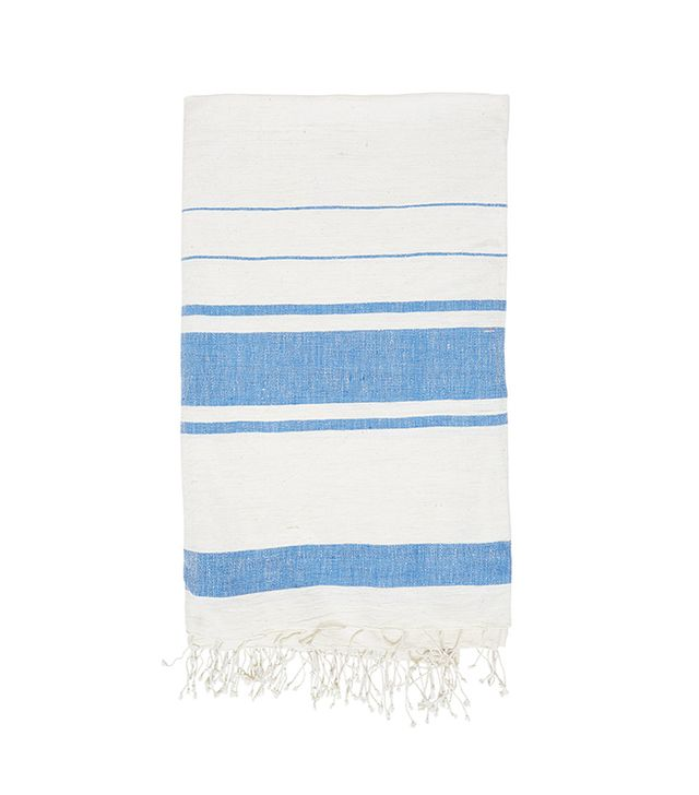 The Little Market Rectangle Striped Tablecloth in Blue