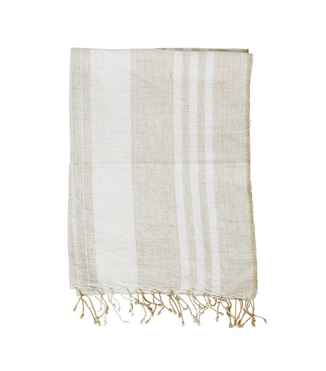 The Little Market Rectangle Striped Tablecloth in Natural