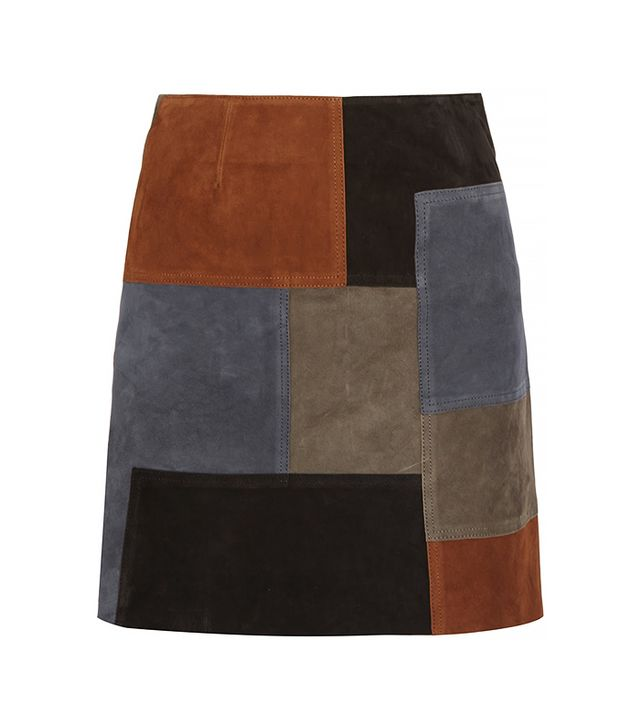 MiH Patchwork Suede Mini Skirt