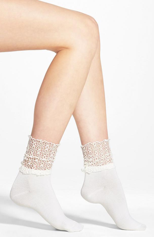 Nordstrom Crochet Cuff Crew Socks