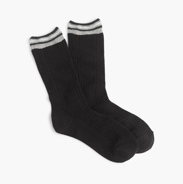 J.Crew Striped-Cuff Aran Trouser Socks