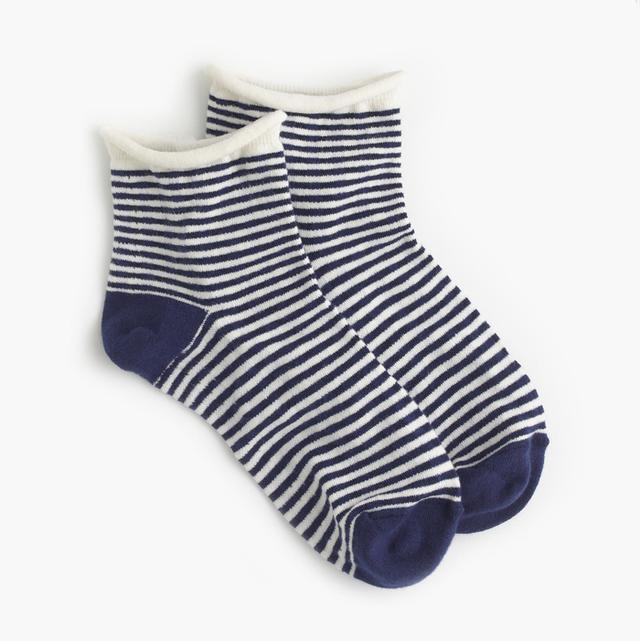 J.Crew Gingham Rolled-Cuff Ankle Socks