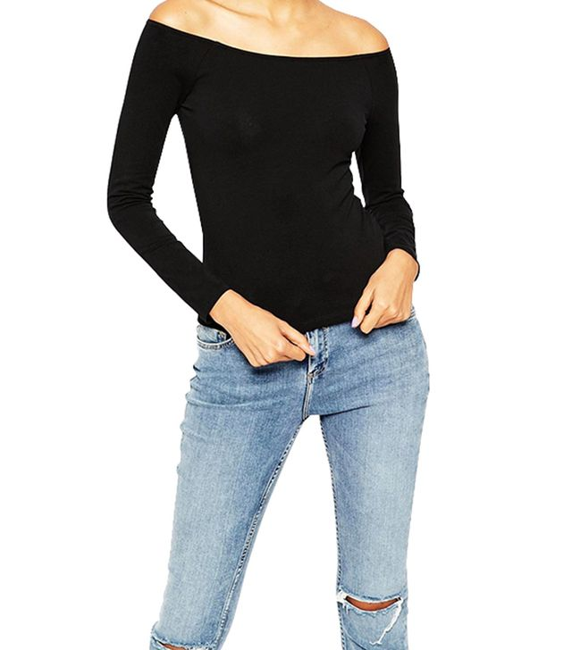 ASOS Top With Bardot Neckline With Long Sleeve