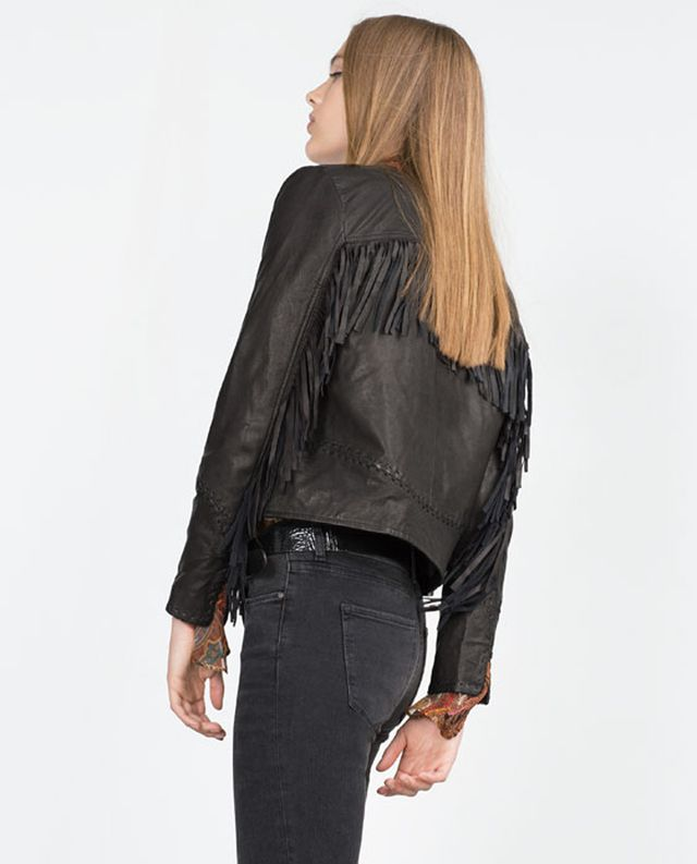 Zara Fringed Leather Jacket