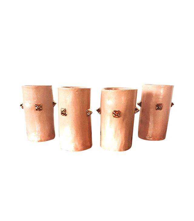Lux/Eros Blush Golden Pyramid Stud Ceramic Tumblers