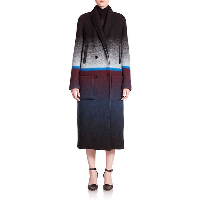 T by Alexander Wang Horizon Stripe Double-Breasted Coat