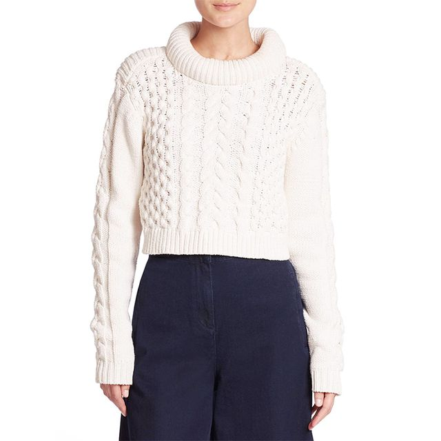 Tibi Chunky Cable Knit Cropped Sweater