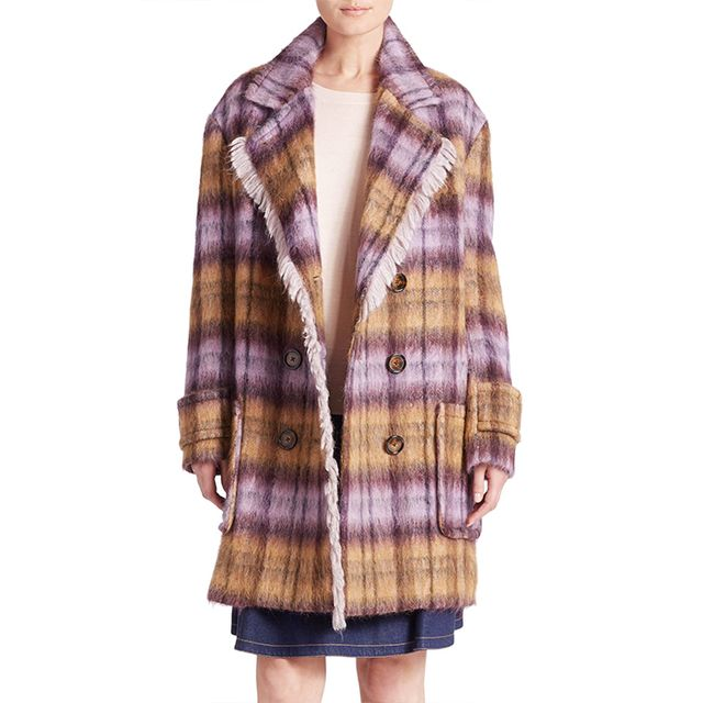 See by Chloé Fringed Plaid Coat