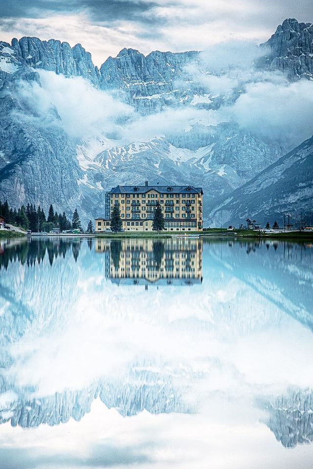 Begging to be the star setting for a film, this Italian hotel, which overlooks Lake Misurina, appears to be downright enchanted—or rendered in oil and acrylic.  Location: Grand Hotel...