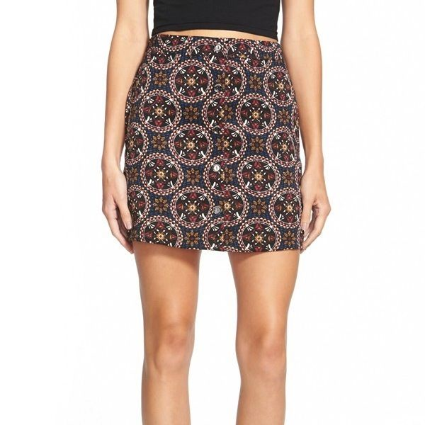 Lush Button Front A-Line Skirt