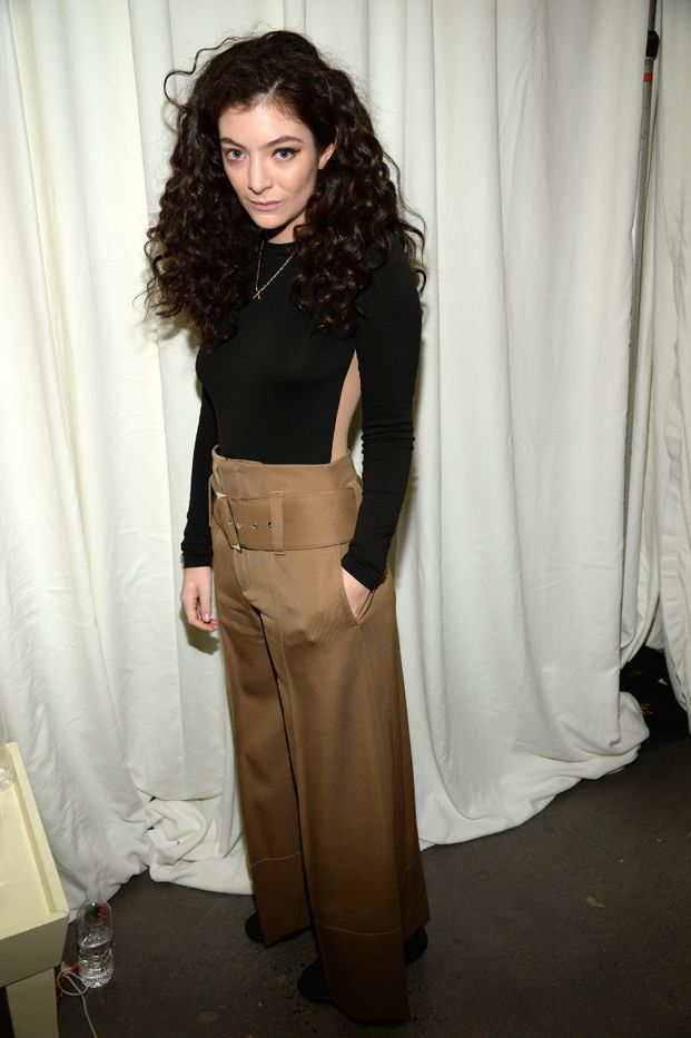 WHO: Lorde  WHAT: Backstage at the Kanye West Yeezy Season 2 show  WEAR: Wolford Image String Bodysuit ($375).