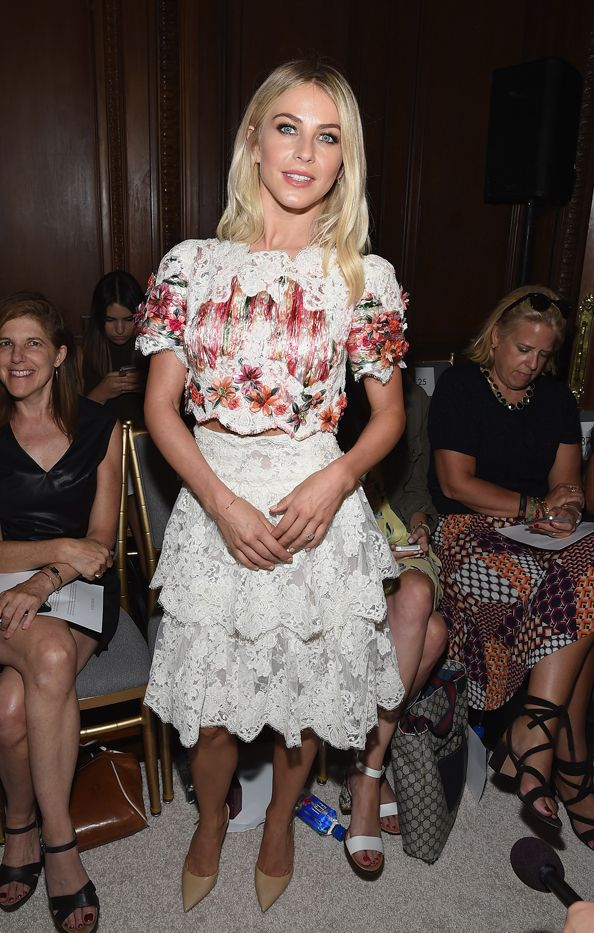 WHO: Julianne Hough  WHAT: Marchesa S/S 16 show  WEAR: Marchesa top and skirt from the S/S 15 collection.