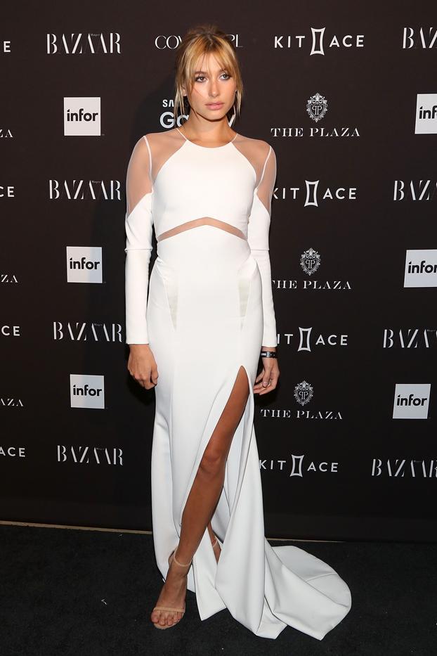 WHO: Hailey Baldwin  WHAT: Harper's Bazaar Icons party  WEAR: Gabriela Cadena dress from the S/S 16 collection; Stuart Weitzman heels.