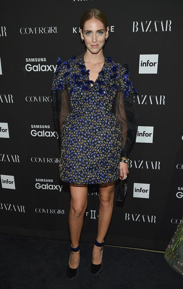WHO: Chiara Ferragni  WHAT: Harper's Bazaar Icons party  WEAR: Delpozo dress.