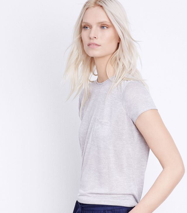Vince Pocket Tee With Roll Neck Detail
