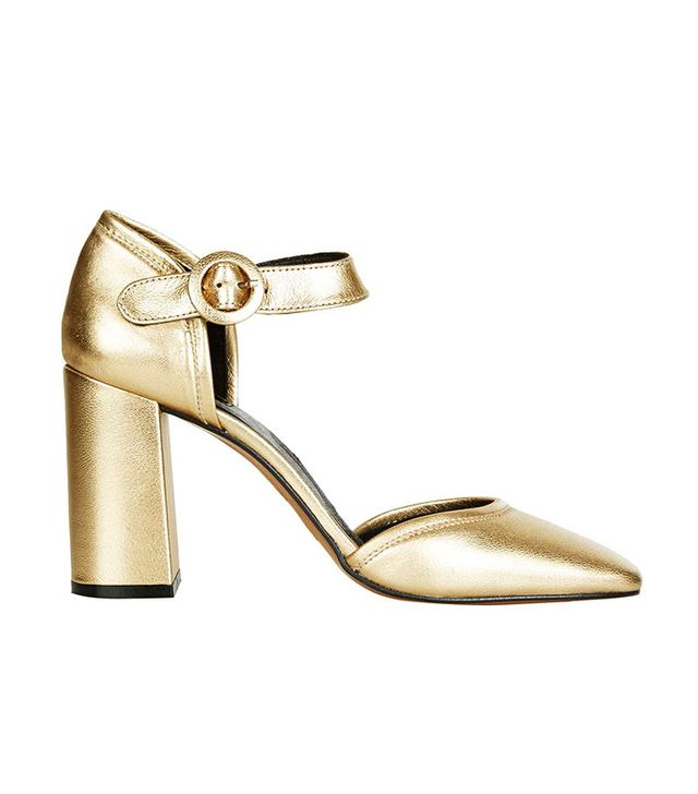 Topshop Ginger Metallic Mary Janes