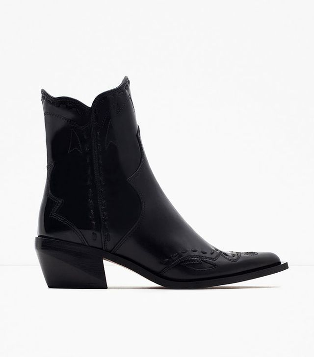 Zara Flat Leather Cowboy Ankle Boots