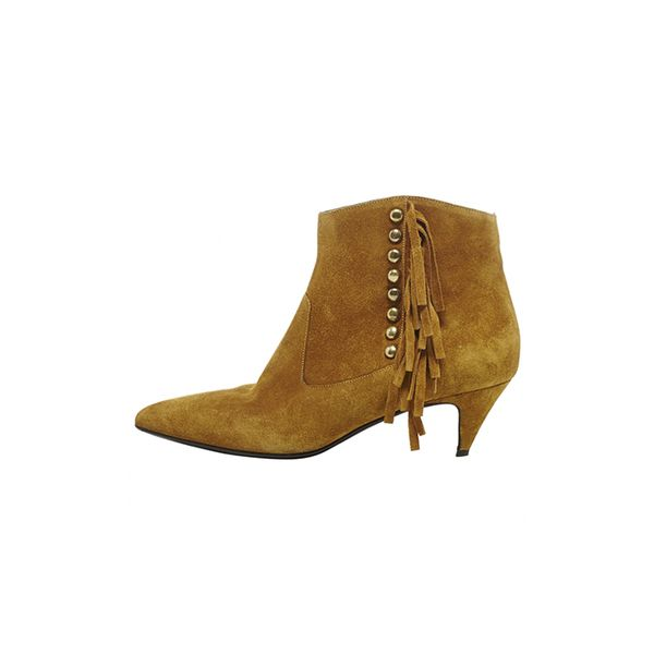 Saint Laurent Beige Suede Ankle Boots