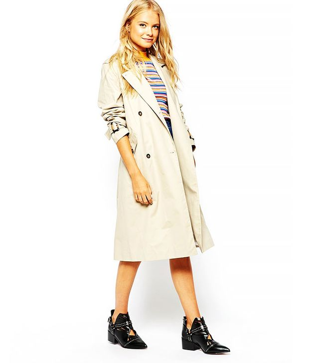 Monki Double-Breasted Trench Coat