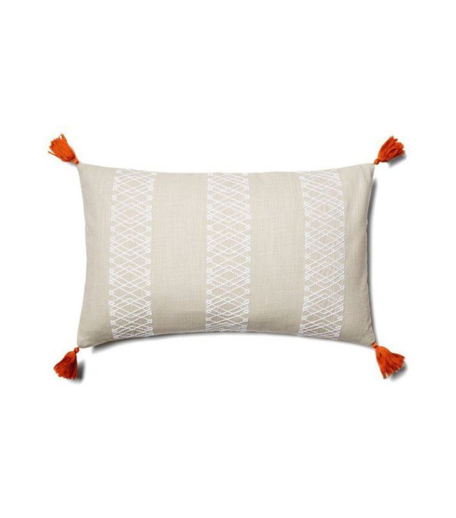 One Kings Lane Embroidered Diamond Stripe Pillow