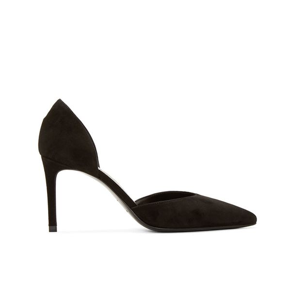 Saint Laurent Black Suede Paris D'Orsay Pumps