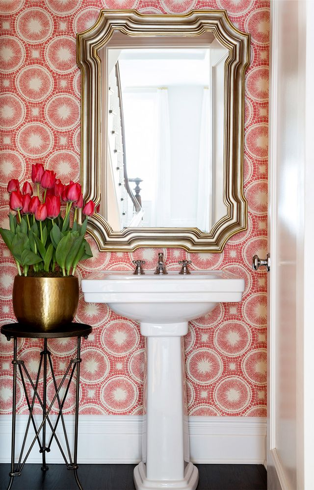 We love the romance of this Park Slope brownstone's rose-hued powder room.