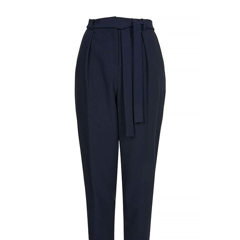 Belted Crepe Peg Pants