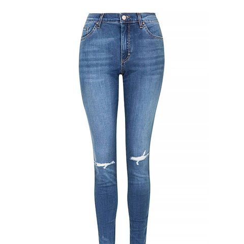 Moto Mid-Blue Ripped Leigh Jeans