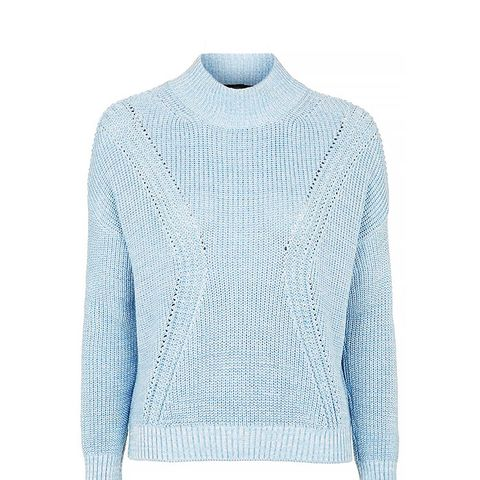 Ribbed Detail Fennel Neck Sweater