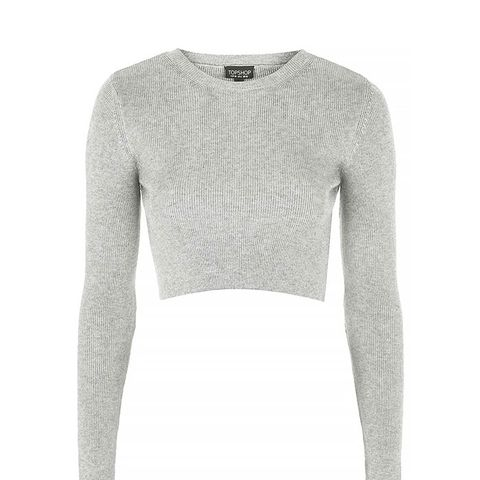 Ribbed Crew Neck Cropped Sweater