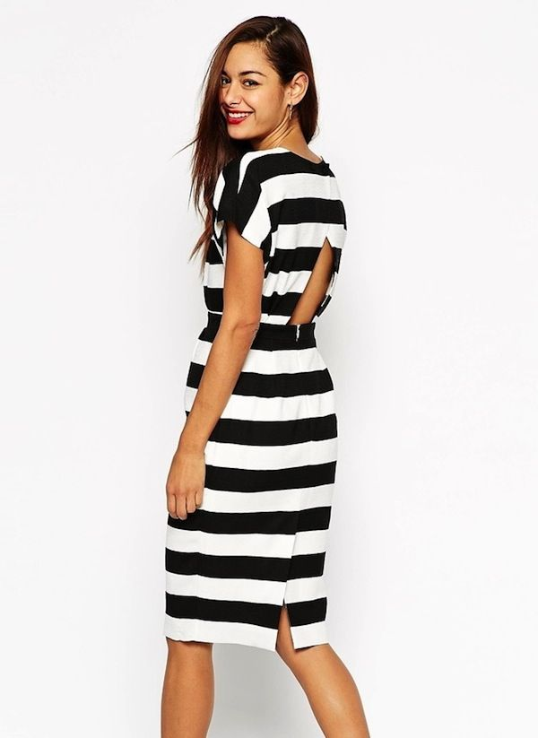 ASOS Pencil Dress With Open Wrap Back in Stripe