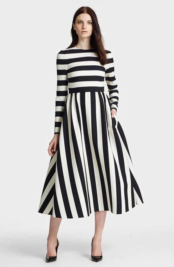 Valentino Stripe Wool & Silk Dress