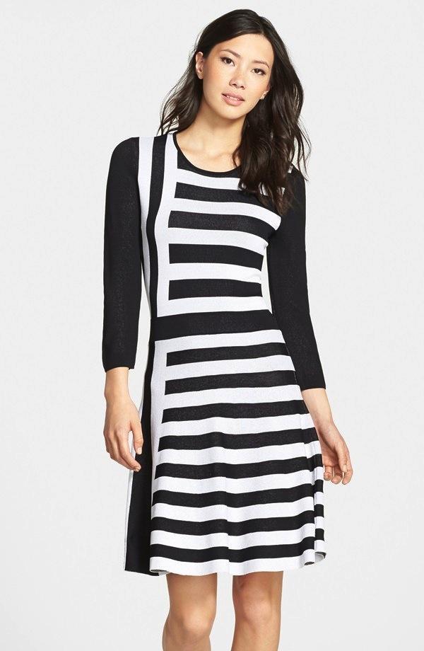 Eliza J Stripe A-Line Sweater Dress