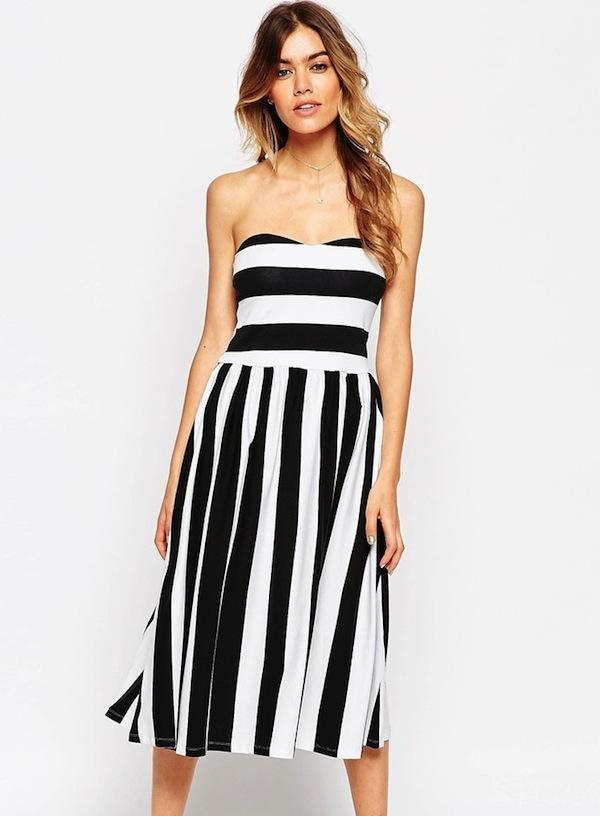 ASOS Blocked Stripe Midi Bandeau Dress With Open Back