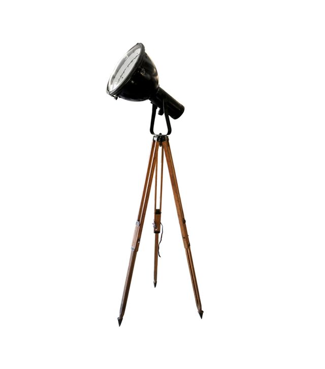 Triopod Luze Vintage Industrial Spotlight On Wooden Tripod