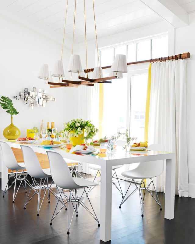 Jazz up your blank dining space with bright accent colors to add zest and a heady dose of fun at eating time.