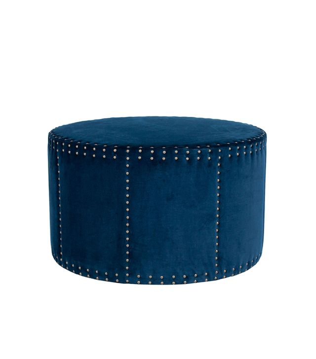One Kings Lane Sarah Ottoman, Navy Velvet