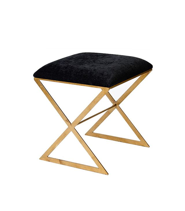 Kathy Kuo Home Chi Hollywood Regency Gold Black Velvet Stool Ottoman