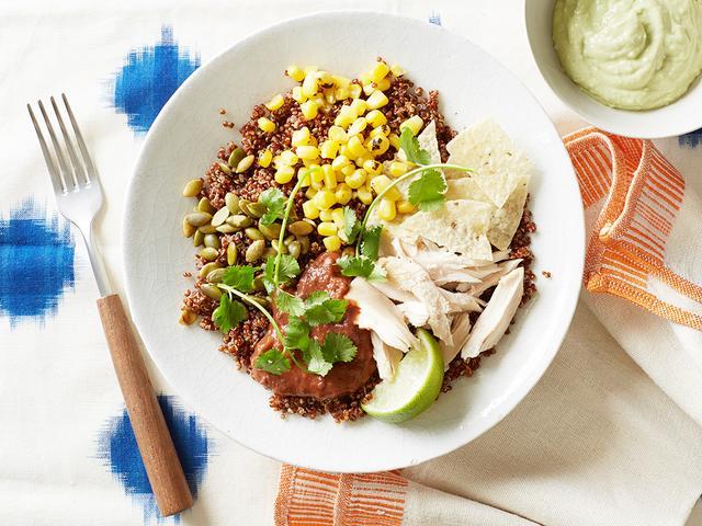 Quinoa Bowl With Chicken and Avocado Cream