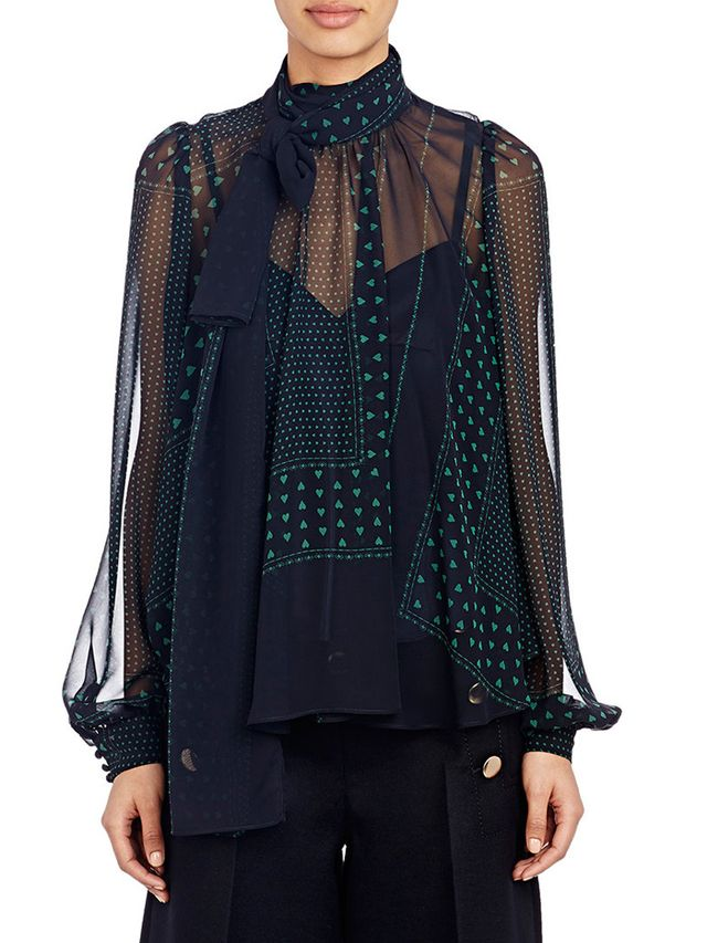 Sacai Luck Heart-Print Scarf Blouse