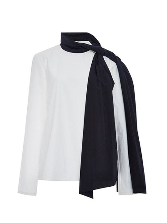 Rosie Assoulin Joplin Cotton Contrast Neck Scarf Top