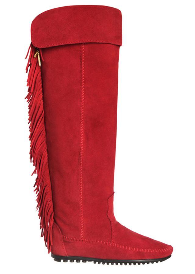 Minnetonka x Maje Minnetonka x Maje Totem Fringe Boot, Red