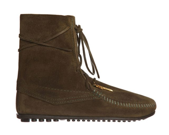Minnetonka x Maje Minnetonka x Maje Boheme Lace-Up Boot, Khaki