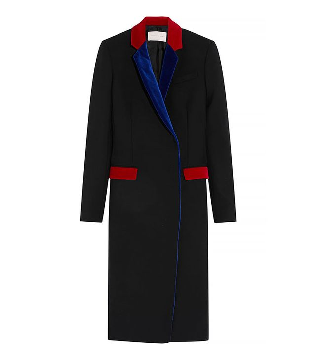 Christopher Kane Velvet-Trimmed Wool Blend Coat