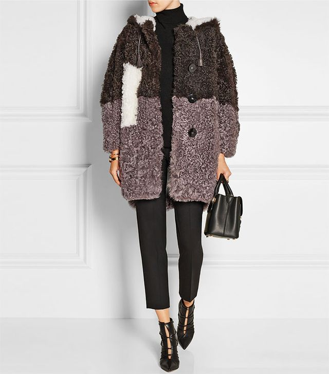 Fendi Hooded Colour-Block Shearling Coat