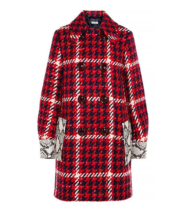 Miu Miu Python-Trimmed Tweed Coat