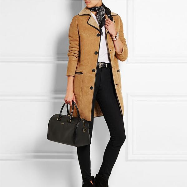 Saint Laurent Leather-Trimmed Shearling Coat