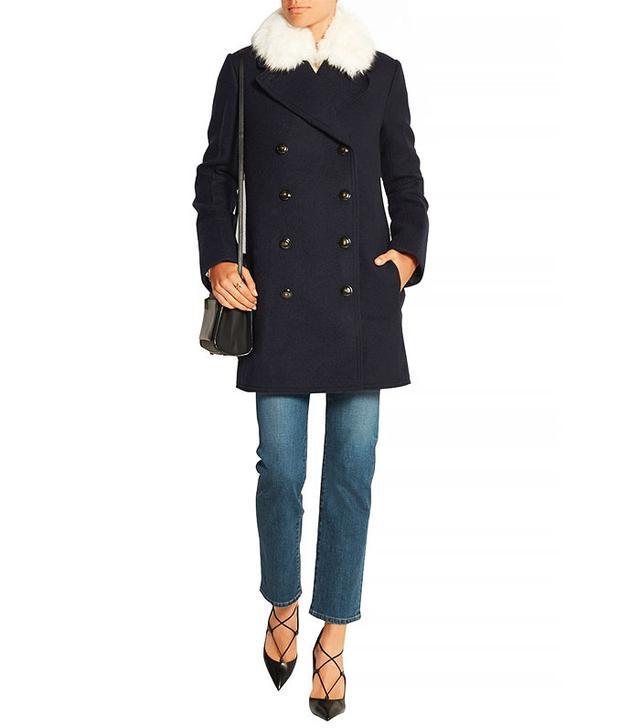Sonia Rykiel Shearling-Trimmed Coat