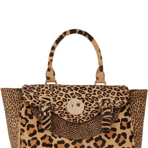Happy Satchel Leopard-Print Calf Hair Tote